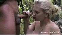 Amateur blonde gets fucked in the middle of the...