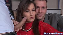 DP loving babe gets fucked and jizzed
