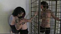 Tattooed lesbians licking beside caged tattooed guy Vorschaubild