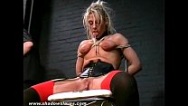 Extreme blonde bdsm slave Crystel Leis tounge tied torments Preview