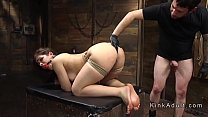 Tied up slave gets anal training