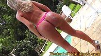 naughty blonde sucks before getting hot