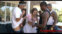Teen babe all holes fucked by big black cocks outdoors