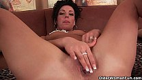 Hard nippled soccer mom loves anal play