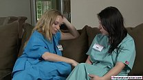 Nurse trainee eats her superiors pussy
