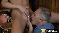 Naughty vixen seduces and rides old mans dick in a bar thumbnail