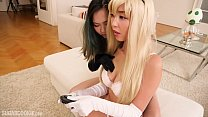 Gorgeous Asian girl cosplays Princess Peach and fucks while playing videogames