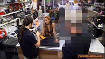 Latina babe gives Pawnshop owner a blowjob for more money