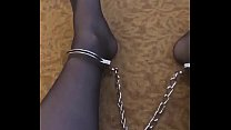 Pantyhose Gay Slave Shackling Himself