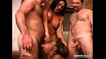 Orgy with the trans and her slave