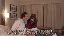 Subtitled CFNM Japanese hotel milf massage leads to handjob preview image