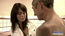 18616 Old Young Teen hairy pussy fucked by old man she rubs dick swallows jizz preview
