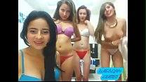4 Cute TEENS Stripping & Going LESBIAN With LOLLIPOPS.