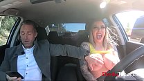 Big tits car grope