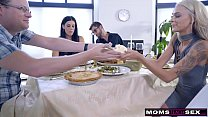 Mom Fucks Son & Eats Teen Creampie For Thanksgi...