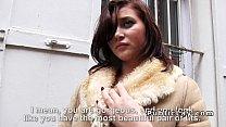Busty French amateur flashing in public