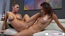 Hot Milfs Jessica Jaymes & Shay Sights fucking each other hard, big boobs & scissoring