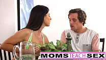Cheating wife seduces tiny teen and step son image