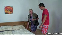 Moaning granny rides his young rod