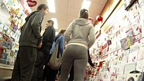 Big booty PAWG shopping in grey spandex thumbnail