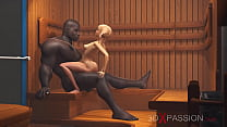 3dxpassion.com. Nerdy girl in glasses gets fucked by black basketball player in sauna صورة