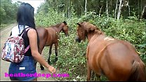 Heather Deep 4 wheeling on scary fast quad and Peeing next to horses in the jungle youtube version صورة