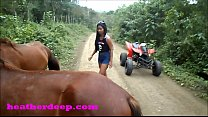 Heather Deep 4 wheeling on scary fast quad and Peeing next to horses in the jungle youtube version Vorschaubild