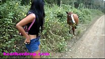 Heather Deep 4 wheeling on scary fast quad and Peeing next to horses in the jungle youtube version thumbnail