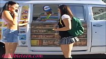 icecream truck super cute teen on roller skates shares icecream mans cock with schoolgirl friend thumbnail