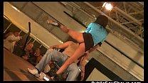 Tattooed stripper gets licked by a fan