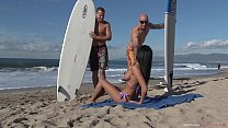 Horny French Busty Beachgoer Anissa Kate DPed and jezzed all over her big natural tits