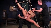 Tied big tits Latina in threesome sex