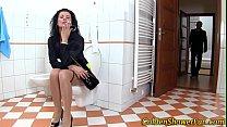 Jizzy face whore urinates