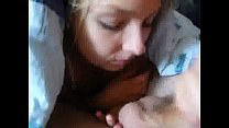Pretty girlfriend swallows under the blanket Image