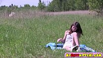 Sweet teenie touching her cunt outdoors