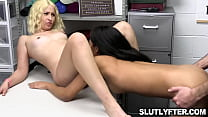 Pervy security guard pummeling Goldie Glock and Maya Farrell sweets pussies