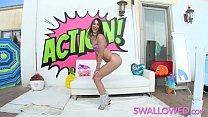 SWALLOWED Petite Riley Reid has no gag reflex and swallows it all