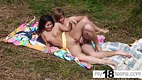 MY18TEENS - Brunette Blowjob and Pussy Fucking Outdoor صورة