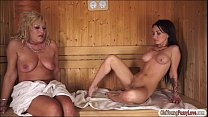 Sandra Luberc naked in sauna with granny Image