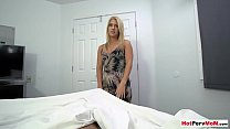 MILF stepmother wakes up stepson with a sensual blowjob