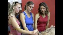Three hot sexy masseuses handjob a lucky, naked client ~ big tit bondage thumbnail