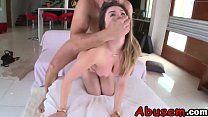 Tiny pussy massaged with fat cock