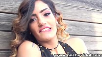 Outdoors on the balcony, the Spanish beauty Penelope Cum with her fresh charm and natural tits encourages sex. Nacho kisses her and Penelope gives her huge cock a blowjob.