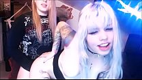 Girl and Tranny Mess Around on Webcam