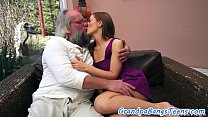 Cockloving teen creampied by an old man