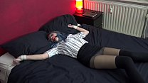 Teen Luna Grey Spread Eagle tied and Ballgagged