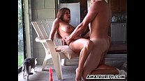 Amateur couple fucking in the kitchen with crea...