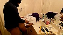 Ebony Emo chick Bends Over The Public Bathroom Sink