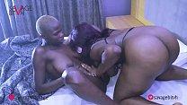 Ebony Lesbians play with vibrator