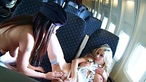 Up in the Air! Lesbo Pacific's First-Class Cabin Crew Kissing, Licking & Scissoring